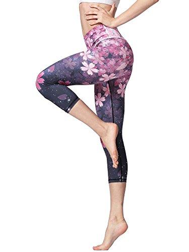 FLYILY Sporthose Damen Capri Yogahosen für Damen Elastische Tummy Control Yogahose Training Tights Yoga Hosen 3/4 Sporthose Laufhose(Cherry,L)