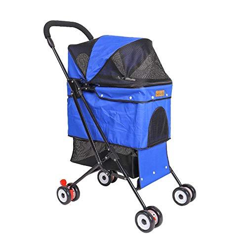 funnyfeng Hundewagen Hundebuggy bis 28kg, 3 Rampenbehälter Trolley für Katzen, Falten Hundewagen mit Ablagekorb und Getränkehalter