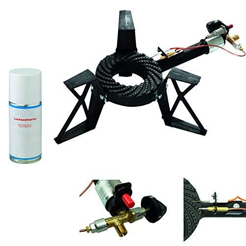 CAGO 3-Bein Gas-Hockerkocher 10,5 kW Gasbrenner Gaskocher mit Zündsicherung und Piezozündung inkl. Lecksuchspray 3-Fuss