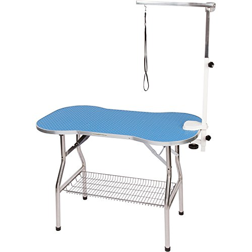"""Flying Pig Heavy Duty Stainless Steel Pet Dog Cat Bone Pattern Rubber Surface Grooming Table with Arm/noose (Sky Blue, 32"""" L x 21"""" W)"""