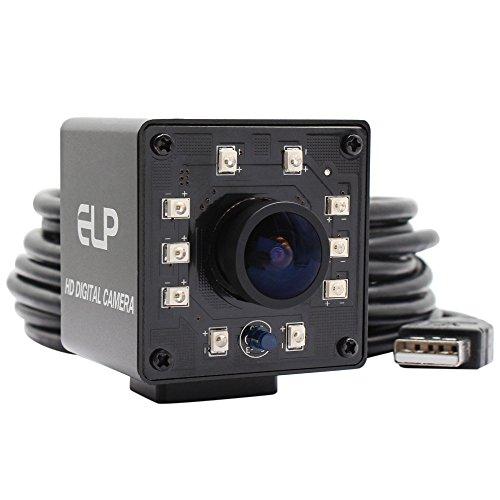 ELP Kamera USB 1080P Wide Anagle Fisheye 170 Grad IR LED Infrarot Webcam Kamera mit Mini Gehäuse USB Kamera für Linux Windows Android Mac OS