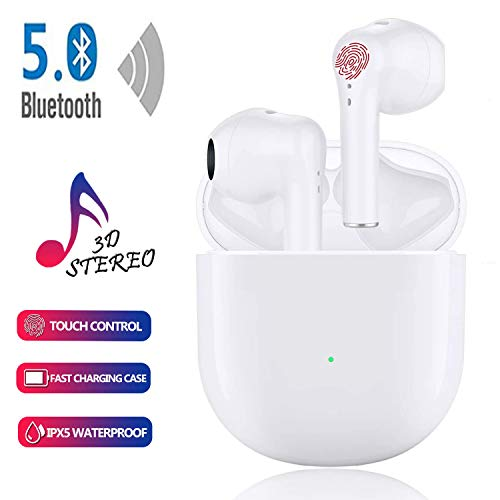Wireless Earbuds Bluetooth Headsets with【24Hrs Charging Case】 IPX5 Waterproof,3D Stereo Headphones in-Ear Ear Buds Built-in Mic, Pop-ups Auto Pairing for iPhone/Samsung/Android Bluetooth Earbuds