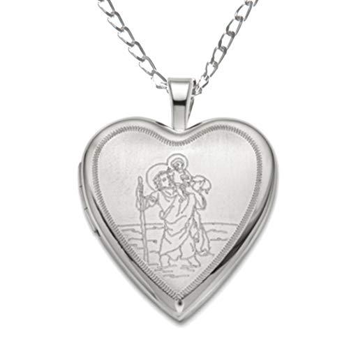 Medaglione a forma di cuore con San Cristoforo in argento sterling con catenina da 45,7cm e scatola regalo.