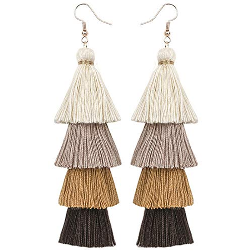Flairs New York Faux Fur Pom Pom Tassel Drop Dangle Earrings Set (Natural Tone Ombre Tassels, Pack of 1 Pair)