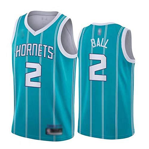 Wo nice Männer Basketball-Trikots, Charlotte Hornets # 2 Lamelo Ball NBA Outdoor-Sport-Basketball-Uniformen Sleeveless T-Shirt Sportweste Top,Light Blue,XXL(185~190CM)