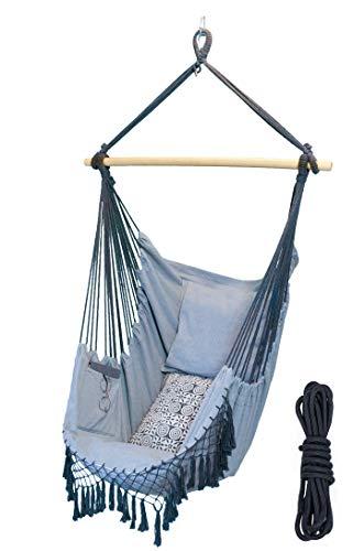 ChilliX Germany XXL Hängesessel - inkl. Seil, 2 Kissen, Innentasche für Tablet - Hochwertige Baumwolle - Belastbarkeit 150kg - Indoor & Outdoor (Wohnzimmer, Veranda, Garten, Camping) - helles grau