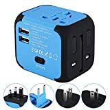 Travel Adapter,Universal World Travel Plug Adapter with Dual USB Charger. Swiss Designed