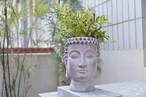 Newman House Studio Buddha Head Planters Resin Face Flower Pot Statue Decor for Home Garden Succulents Cactus Plants Pot 6.7L x 6.7W x 8.7H inch