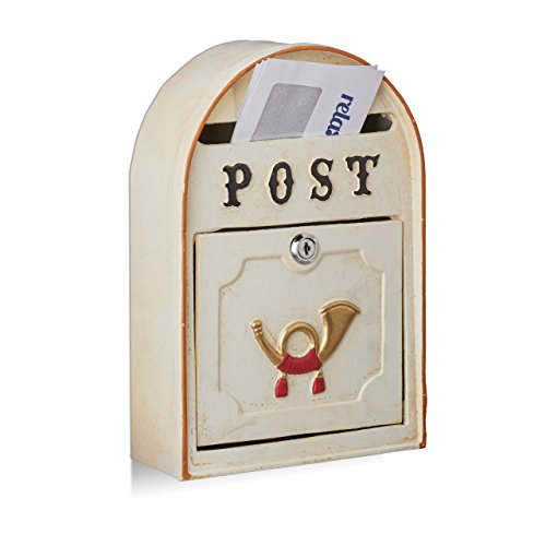 Relaxdays brievenbus antiek, Western Vintage Style, Shabby-Chic, posthorn-reliëf, metaal, HxBxD: 30 x 20 x 8 cm, beige