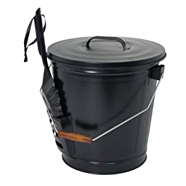 Panacea 15343 ash bucket with shovel, black 1 ash bucket with shovel a specifically designed pocket on the side of the bucket holds the shovel, for an all in one unit, and the included lid keeps ash from spilling onto the floor this generous bucket holds plenty of ash from past fires, and the included shovel makes cleanup simple