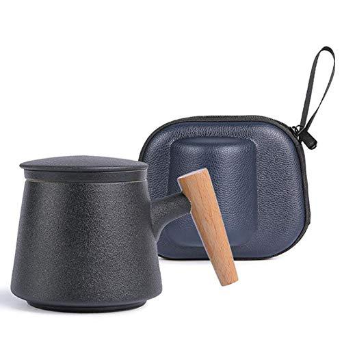 WILDKEN Teetasse Steinzeug Glasierte Keramik Teebecher mit Sieb und Deckel Palisandergriff Tragetasche Becher aus Porzellan für Losen Tee Oder Teebeutel 300ml Kaffeebecher Kaffeetassen Reise Tee Set