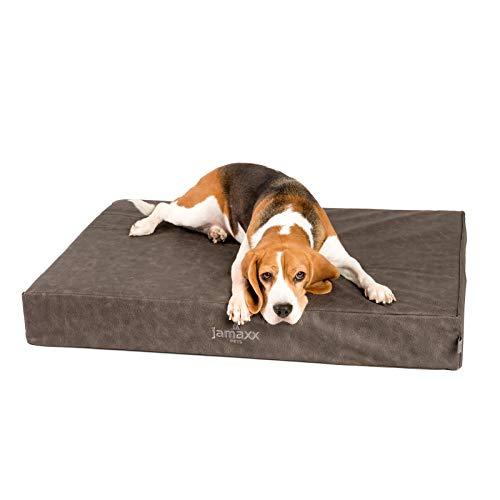 JAMAXX Premium Leder-Matratze - Orthopädisch Memory Visco - Kunstleder Abwaschbar Hygienisch Wasserabweisend Hunde-Matte PDB1017 (M) 90x65 Vintage grau