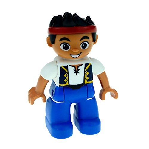 1 x Lego Duplo Figur Mann Junge Jake und die Nimmerland Piraten Hose blau Hemd weiss mit Weste und Stirn Tuch rot 47394pb162