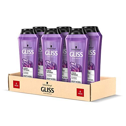 Schwarzkopf Gliss Shampoo Liscio Intenso, Lisciante, Anti-Crespo, Anti-Umidità, per Capelli Crespi e Ribelli, con Complesso Lipidico ed Essenza Floreale Asiatica, Confezione da 6 pezzi x 250 ml
