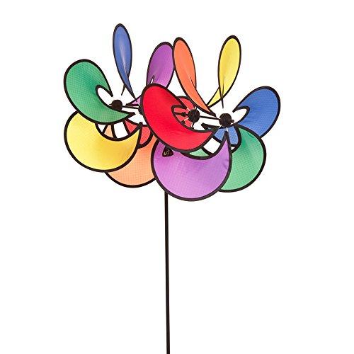HQ Windspiration 100836 - Paradise Flower Duett, UV-beständiges und wetterfestes Windspiel - Höhe: 82 cm, Tiefe: 40 cm , Blumen-Ø: 35 cm, inkl. Standstab und Bodenanker