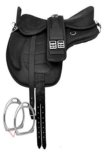 HR, International Synthetic Treeless FREEMAX English Horse Saddles Tack with Handle + Girth, Leather Straps, Aluminium Stirrup, Navajo Saddle Pad. Size 14