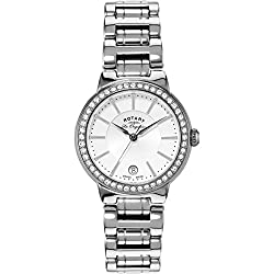 Swiss made Sapphire glass Stone set bezel Date window Durable and scratch-resistant sapphire crystal protective lens Round hypoallergic and tarnish resistant stainless steel case with analogue display Durable stainless steel 19 millimetres wide brace...