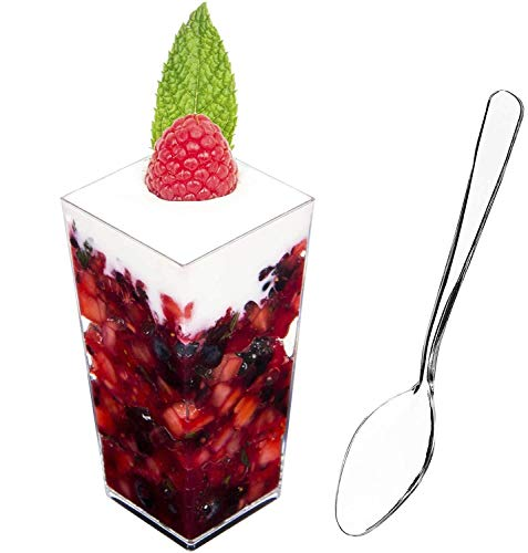 DLux 100 x 3 oz Mini Dessert Cups with Spoons, Square Tall - Clear Plastic Parfait Appetizer Cup - Small Disposable Reusable Serving Bowl for Tasting Party Desserts Appetizers - With Recipe Ebook