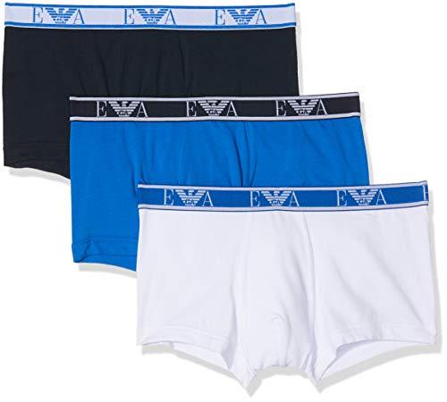 Emporio Armani Underwear Herren 3 Pack Trunk Colored Basics Monogram Badehose, Weiß (Bianco/Marine/ONDA 58110), X-Large (Herstellergröße:XL)