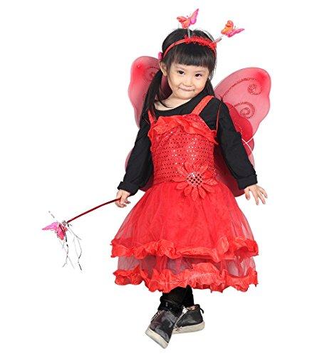 Ja13, traje de 4 piezas Mariposa / hada que consiste en alas, vestido, tocado y el personal! Para los tamaños 3-5 Anni traje para los niños del traje de carnaval de trajes de carnaval de disfraces
