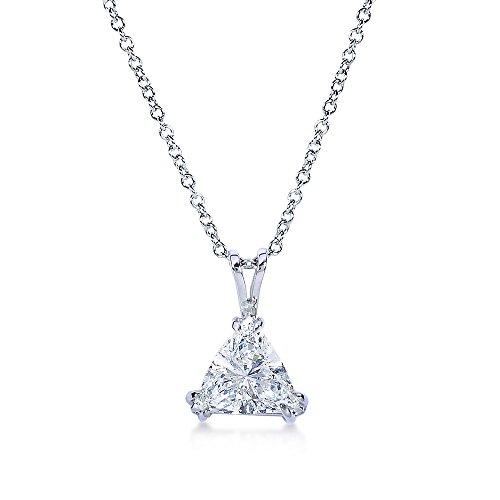 Triangolo taglio triangolo diamante solitario collana 2 1/6 carati (ctw) in oro bianco 14k (certificato)