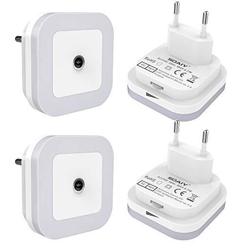 SOAIY 4 Pcs Veilleuse LED Automatique,Lampe de Nuit à Capteur Crépusculaire, LED Lampe Dimmable,Veilleuse Prise Électrique, Blanc Froid