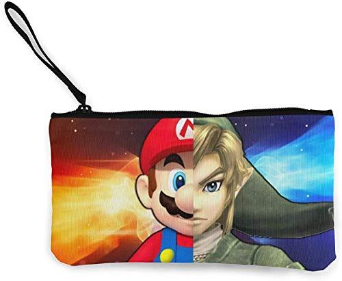 Super Mario Legend of Zelda portemonnee (Canvas Zipper Make Up Pouches) met armband voor mobiele telefoon