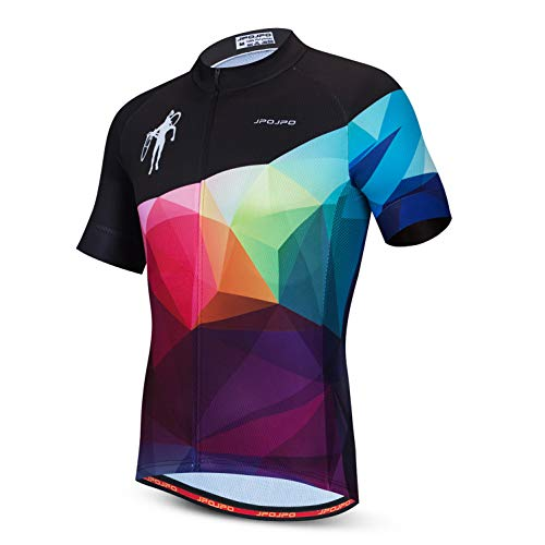weimostar Cycling jersey mens Bicycle full zipper Sportswear Breathable Quick Dry Colorful and Black Size M