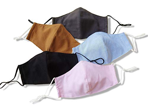 Face Masks Reusable Handmade Waterproof Cotton made in USA with filter pocket washable for women men pink gray black blue mustard yellow Pack of 5