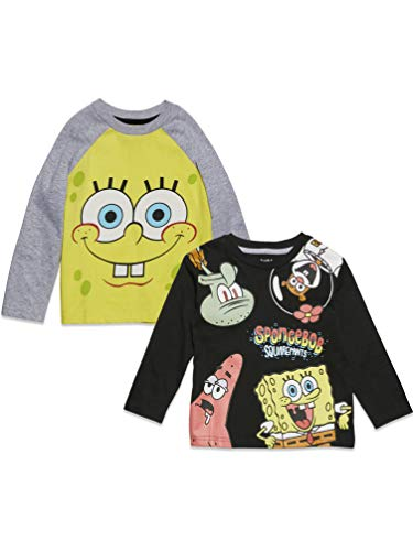 Nickelodeon Spongebob Squarepants Toddler Boys 2 Pack Long Sleeve Graphic T-Shirt 4T ⭐
