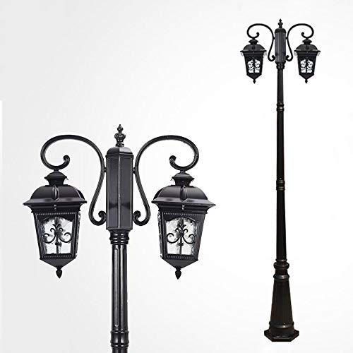 Farola negra Faros de 2 llamas Camino de hierro fundido y vidrio Candelabro de corte Linterna de jardín Lámpara de exterior Vintage E27 Lámpara de jardín de 230CM