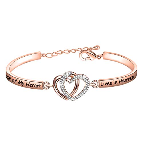 FAADBUK Memorial Jewelry Loss Jewelry Gift A Piece of My Heart Lives in Heaven Jewelry Bracelet Sympathy Gift (A Piece of C-RG)