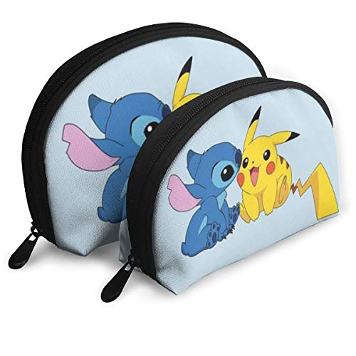 Stitch and Pikachu Makeup Bag Travel Bags Small Shell Bag Portable Toiletry Clutch Pouch 2Pcs