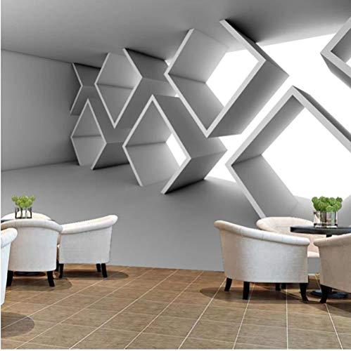 Fotobehang - vliesbehang voor de woonkamer, slaapkamer, kantoor, hal, decoratie, wandafbeeldingen, wit, geometrische vensterbank van moderne kunst 300(w)x210(H)cm