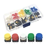 Kfdzsw Interruptores de botón 5 Colores 12 * 12 * 7.3mm Micro Interruptor Botón TACT Cap TÁCH TÁCTICO Push MUMPARIO + Caja DE COMPONENTE para ARDUINO 25PCS / Set