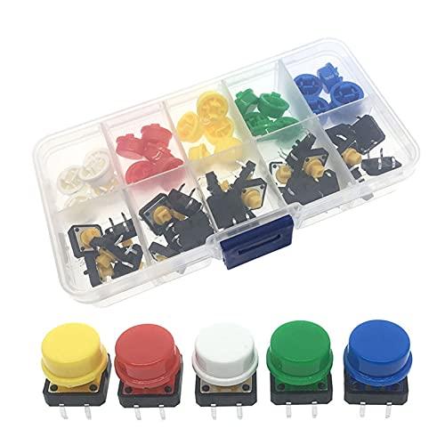 HAIQINGMY Interruptores Basculantes 5 Colores 12 * 12 * 7.3mm Micro Interruptor Botón TACT Cap TÁCH TÁCTICO Push MUMPARIO + Caja DE COMPONENTE para ARDUINO 25PCS / Set Interruptor de Accesorios
