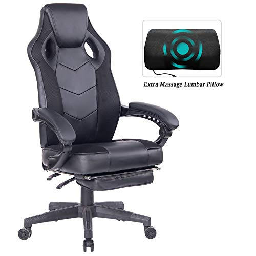 HEALGEN Gaming Chair with Footrest Racing Computer PC Chair Ergonomic High Back Swivel Executive Office Chair Mesh Leather Reclining Desk Chair (RC906 Black) chair footrest gaming