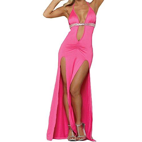 Ansenesna Reizwäsche Damen Erotik Kleid Offener Schritt Straps Babydoll Frauen Entblößte Leidenschaft Versuchung Kostüme (S, Pfirsich rot)