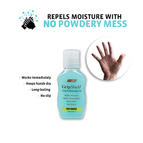 2Toms GripShield, Grip Enhancer That Keeps Hands Dry, Combo Pack, 1.5 Ounce Bottle and 3 Single Use Packets