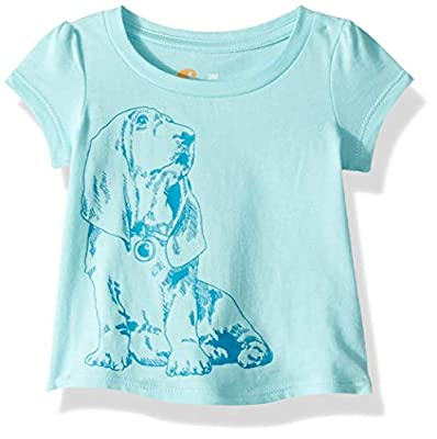 Carhartt Baby Girls Short Sleeve Cotton Graphic Tee T-Shirt, Dog (Tibetan Stone), 12 Months