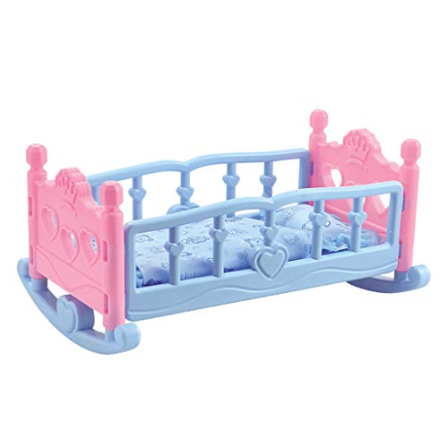 CUTICATE Pink Blue Dolls Rocking Cradle Crib Cot Bed Girls Toy With Blanket & Pillow