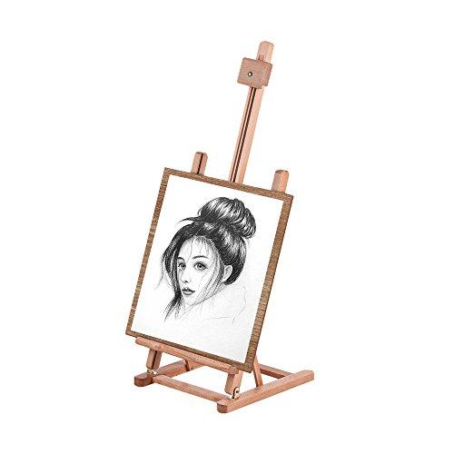 Aibecy Caballete de madera con marco en H ajustable para mesa, suministros de arte ensamblados para artistas, estudiantes, escuela