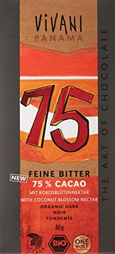 Vivani Chocolat Noir 75% Cacao Panama Bio 80 g - Lot de 5
