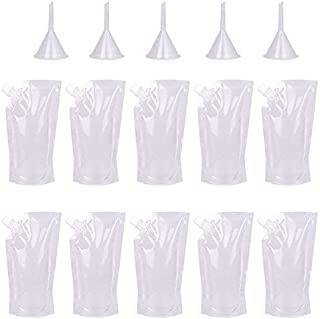 KISEER 10 Pcs Plastic Drinks Flasks Liquor Pouch Concealable Reusable Flask Kit with 5 Pcs Funnel (8 oz)