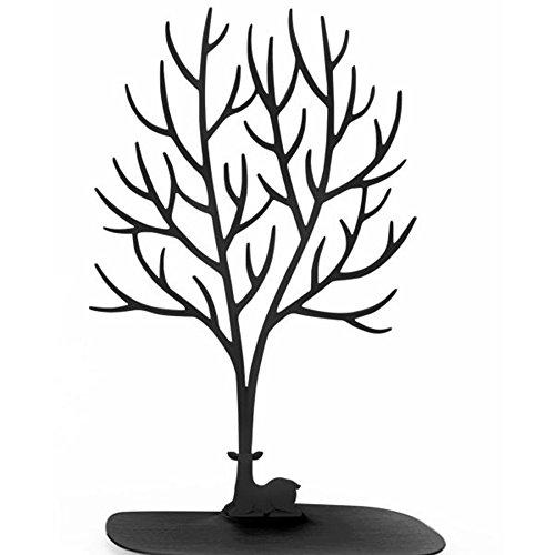 Présentoir à bijoux / porte-bijoux en forme d'arbre avec motif de cerf Sika, pour bagues/collier, cadeau d'anniversaire/Noël, noir, Taille L