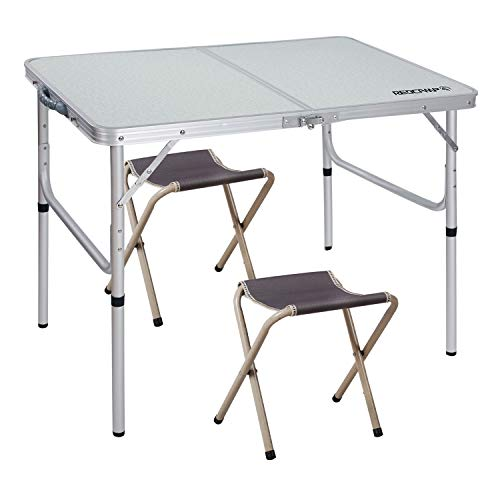 REDCAMP Folding Camping Table Adjustable, Portable Picnic Table with 2 Chairs, Aluminum White...