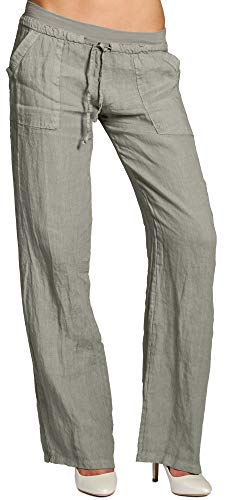 Caspar KHS025 Donna Pantaloni Casual di Lino, Colore:Talpa, Dimensioni:3XL - DE46 UK18 IT50 US16