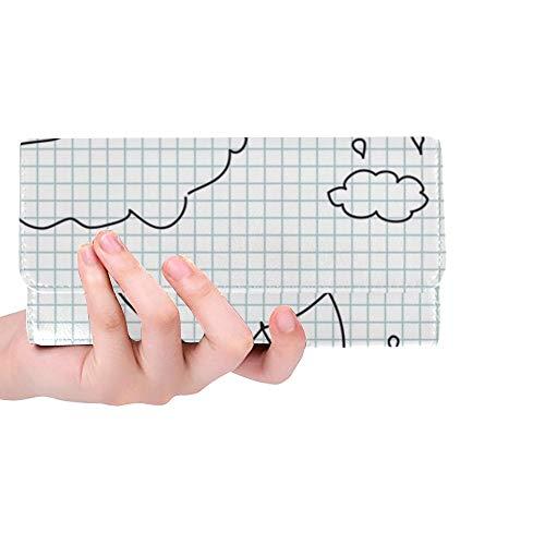 JOCHUAN Einzigartige benutzerdefinierte Herbst Wetter Regenschirm Hand Zeichnung Illustration Frauen Trifold Brieftasche Lange Geldbörse Kreditkarteninhaber Fall Handtasche