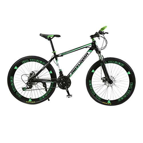 Mountainbikes 26 Zoll Fahrrad Kohlenstoffreicher Stahl Strong Fully, geignet ab Scheibenbremse vorne und hinten, Vollfederung, Jungen-Herren Fahrrad, mit Vorder- und Hinterschutzblech (Grün)