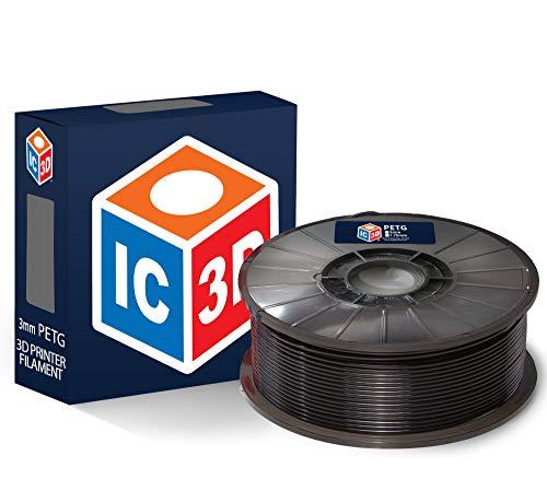 IC3D - Filament PETG pour imprimante 3D - Précision dimensionnelle +/- 0,05 mm - Qualité professionnelle - Fabriqué aux États-Unis, 2.2 lbs, Noir